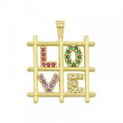 "Brass Charm Square ""LOVE"" w/ Zircon 17mm"