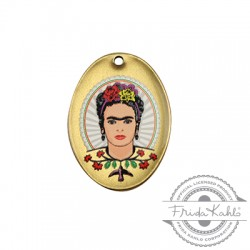 Charm in Ottone Ovale Frida Kahlo 21x29mm