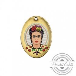 Μεταλλικό Μπρούτζινο Μοτίφ Οβάλ Frida Kahlo 21x29mm