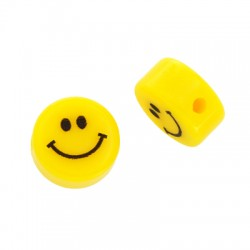 Resin Bead Round Flat Smile Face 12mm/6mm (Ø2mm)