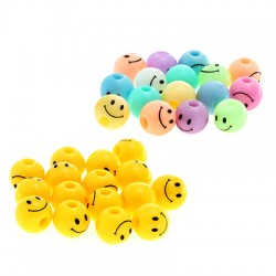 Acrylic Bead Round Face Smile 8mm (Ø2mm)