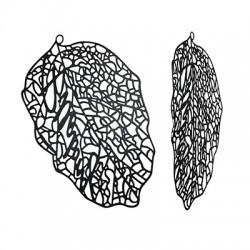 Brass Filigree Pendant Leaf 38x60mm