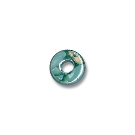 Enamel-Glazed Multi Color Ceramic Slider Rondelle 15x6mm (Ø 5mm)