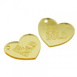 """Πλέξι Ακρυλικό Μοτίφ Καρδιά """"Be Bold"""" 25x21mm"""