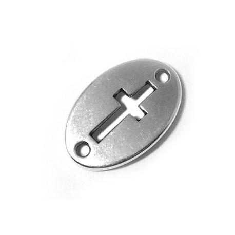 Intercalaire Ovale Croix en Métal/Zamac, 20x13mm