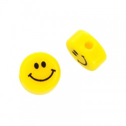 Resin Bead Round Flat Face Smile 10mm/5mm (Ø2mm)