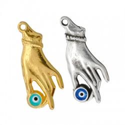 Zamak Pendant Hand Eye w/ Enamel 17x34mm