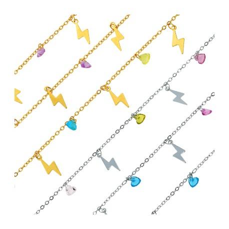 Brass Chain w/ Lightning & Glass Stone