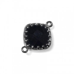 Brass Square Setting With Glass Stone 13x18 mm w/ 2 Rings