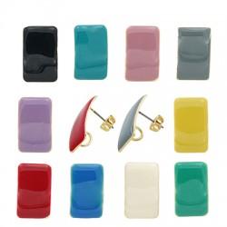 Steel Earring Rectangle w/ Enamel 13x20mm