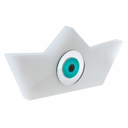 Plexi Acrylic Deco Boat w/Evil Eye 140x64mm