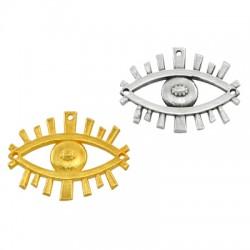 Μεταλλικό Μπρούτζινο Στοιχείο Μάτι για Μακραμέ 19x15mm