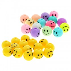 Acrylic Bead Round Face Smile 10mm (Ø2mm)