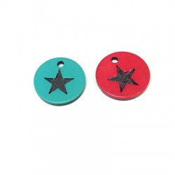 Plexi Acrylic Cabochon  Round Pendant with Engraved Star 15mm