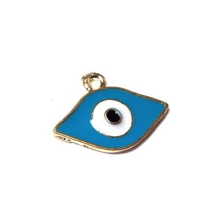Metal Zamak Charm Enamel Eye 12x21mm