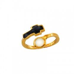 Μεταλλικό Μπρούτζινο Δαχτυλίδι Στρογγυλό Σταυρός με Σμάλτο