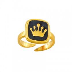 Brass Ring Square Crown w/ Enamel 12mm
