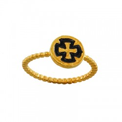 Brass Ring Round Cross w/ Enamel 9.3mm