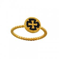 Μεταλλικό Μπρούτζινο Δαχτυλίδι Σταυρός με Σμάλτο 9.3mm