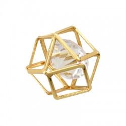 Μεταλλικό Γραμμικό Μοτίφ Πολύγωνο με Γυάλινη Πέτρα 16mm