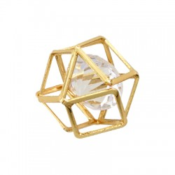 Steel Charm Polygon with Stone 16mm