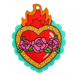 Plexi Acrylic Pendant Heart Flame Rose 37x48mm