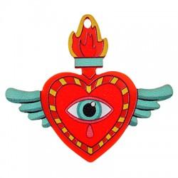 Plexi Acrylic Pendant Heart Wings w/ Evil Eye 49x43mm