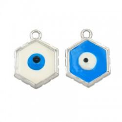 Zamak Charm Hexagon Evil Eye w/ Enamel 17x23mm (Ø2mm)