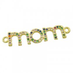 "Brass Connector ""mom"" w/ Zircon 31x7mm"