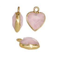 Pendentif cœur en pierre sémi-precieuse 12mm