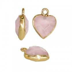 Rose Quartz Charm Heart w/ Brass Setting 12mm