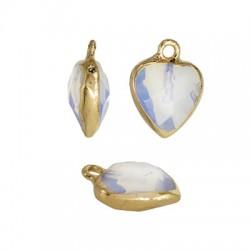 Spectrolite Opal Charm Heart w/ Brass Setting 12mm