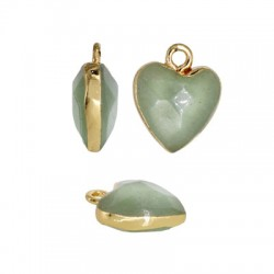 Semiprecious Stone Charm Heart w/ Brass Setting 12mm
