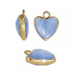 Ημιπολύτιμη Πέτρα Μοτίφ Καρδιά Μεταλλική Βάση 12mm