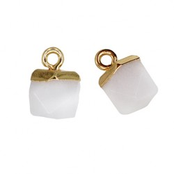 Semiprecious Stone Charm Polygon w/ Brass Setting 10mm