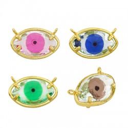 Brass Charm Evil Eye w/ Strass 20x13mm
