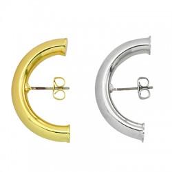Brass Earring Half Hoop w/ Safety Back 30x17mm