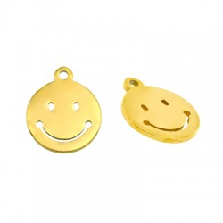 Stainless Steel 304 Charm Round Smile Face 10mm