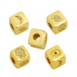Passante in Ottone Cubo con Simboli e Zirconi 9mm