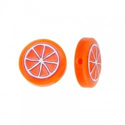 Resin Bead Round Flat w/ Orange 14mm