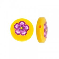 Χάντρα Ρητίνης Στρογγυλή Επίπεδη Λουλούδι 14mm