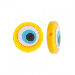 Resin Bead Round Flat w/ Evil Eye 14mm