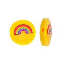 Resin Bead Round Flat w/ Rainbow 14mm