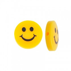 Resin Bead Round Flat w/ Smile Face 14mm
