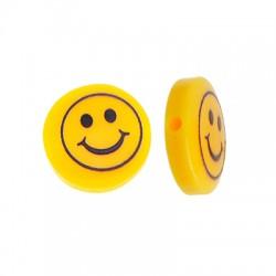 Perlina di Resina Piatta con Faccina Sorridente 14mm