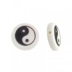 Resin Bead Round Flat w/ Yin & Yang 15mm