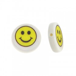 Resin Bead Round Flat w/ Smile Face 15mm