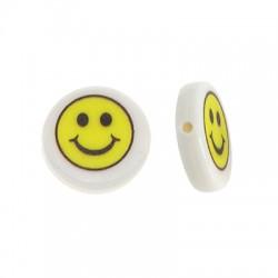 Χάντρα Ρητίνης Στρογγυλή Επίπεδη Χαμογελαστό Πρόσωπο 15mm