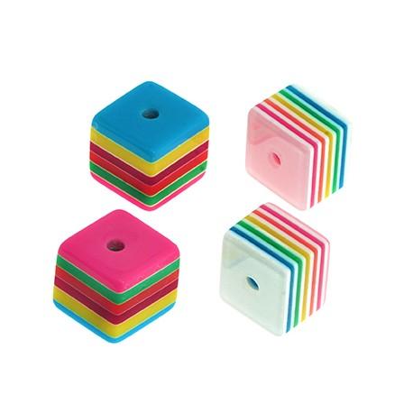 Resin Bead Cube w/ Stripes 12mm