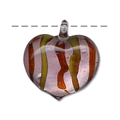 Γυάλινο Μοτίφ Καρδιά (τύπου Μουράνο) 37x41mm